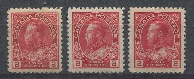 Shades Of The 2c Carmine Admiral Stamp of 1911-1922