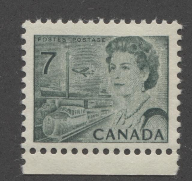 The 7c Myrtle Green Transportation Stamp of the 1967-1973 Centennial Issue