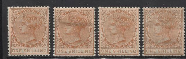 The Printings of the 1/- Orange Queen Victoria Keyplate Definitive Issue of Lagos Watermarked Crown CA 1884-1886