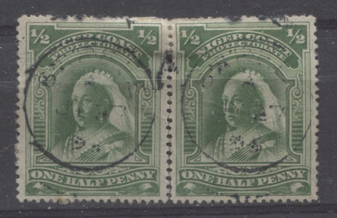 Deep bright green shade on the halfpenny Queen Victoria stamp from the Second Waterlow Issue of the Niger Coast protectorate