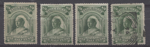 Deep green shades of the halfpenny Queen Victoria stamp from the Second Waterlow Issue of Niger Coast Protectorate