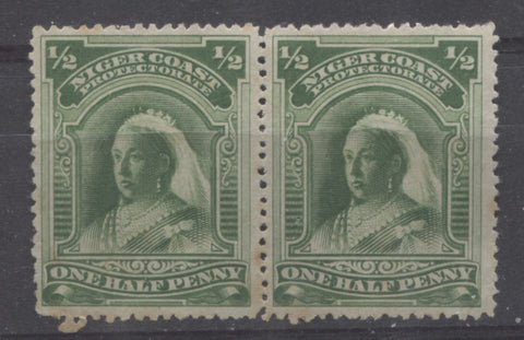 Deep yellow green shade of the halfpenny Queen Victoria stamp from the Second Waterlow Issue of Niger Coast Protectorate