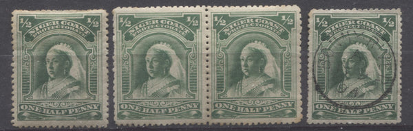 Emerald green shades of the halfpenny Queen Victoria stamp from the Second Waterlow Issue of the Niger Coast Protectorate
