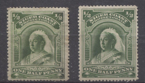 Sage green shades on the halfpenny green Queen Victoria stamp from the Second Waterlow Issue of the Niger Coast Protectorate