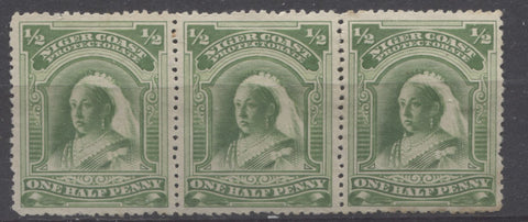The pale bright yellow green shade on the halfpenny Queen Victoria stamp from the second Waterlow Issue of the Niger Coast Protectorate