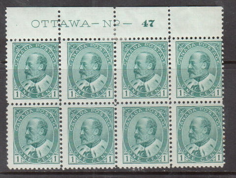 1c Plate 47 block of 8 of the Canadian King Edward VII stamp