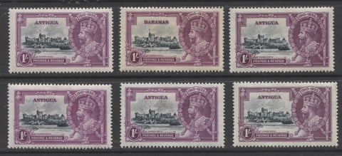 six 1 shilling 1935 Silver Jubilee stamps