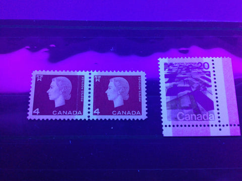 Two examples of Winnipeg Tagging on Canadian stamps