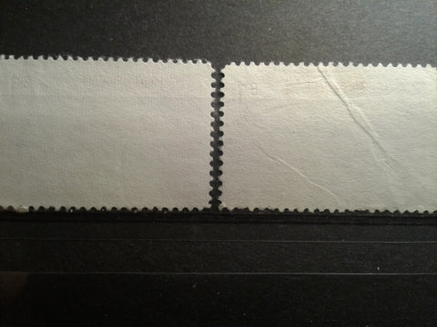 Vertical ribbed hibrite paper versus plain smooth paper on the $1 Edmonton Oilfield stamp of the 1967-1973 Centennial Issue of Canada