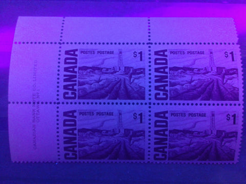 The non-fluorescent paper on the $1 Edmonton Oilfield Stamp of the 1967-1973 Centennial Issue of Canada