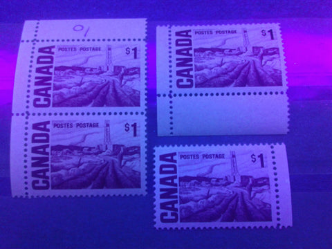 Three varieties of dull fluorescent paper on the $1 Edmonton Oilfield stamp from the 1967-1973 Centennial Issue
