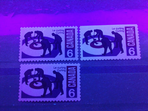 Three varieties of dull paper on the 1969 6c curling stamp from Canada