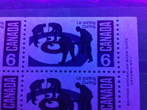 The fluorescent paper on the 6c curling stamp of Canada from 1969