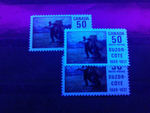 The 50c Suzor Cote stamp of Canada from 1969 printed on medium fluorescent, high fluorescent and hibrite papers