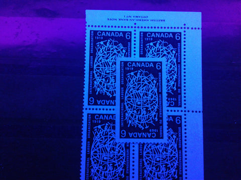 Hibrite and high fluorescent papers on the 6c ILO stamp of Canada from 1969