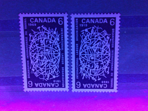The 6c 1969 ILO stamp of Canada from 1969, on dull paper