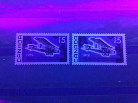Dull fluorescent and low fluorescent paper on the 1969 Alcock and brown stamp of Canada
