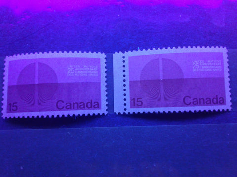 Two varieties of dull fluorescent paper on the 1970 United Nations Stamp of Canada