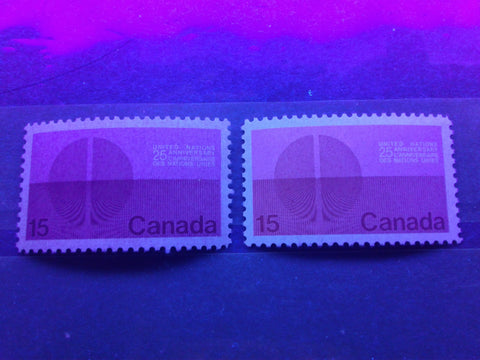 Two varieties of the dull fluorescent paper on the 1970 United Nations stamp of Canada