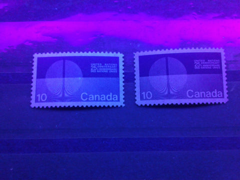 Fluorescent and dull paper on the 10c United Nations stamp of Canada from 1970