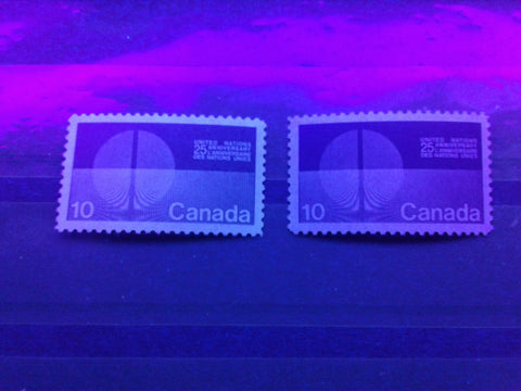 Two varieties of dull paper on the 10c United Nations stamp of Canada from 1970