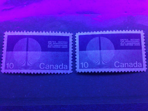 Two varieties of dull fluorescent paper on the 10c United Nations stamp of Canada from 1970