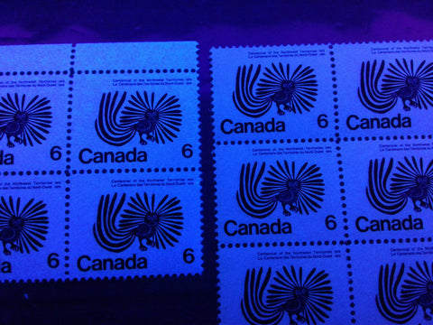 Medium and high fluorescent paper on the 1970 NWT Centennial issue of Canada