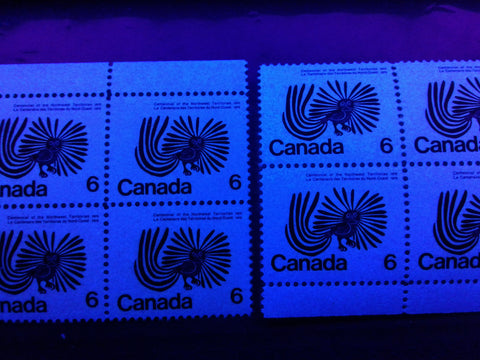 High fluorescent and hibrite papers on the 1970 NWT centennial issue of Canada