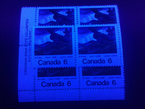 High fluorescent paper on the 1971 Emily Carr stamp of Canada