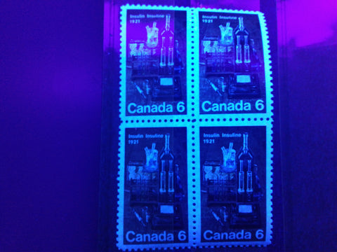 Hibrite paper on the 1971 Insulin stamp of Canada