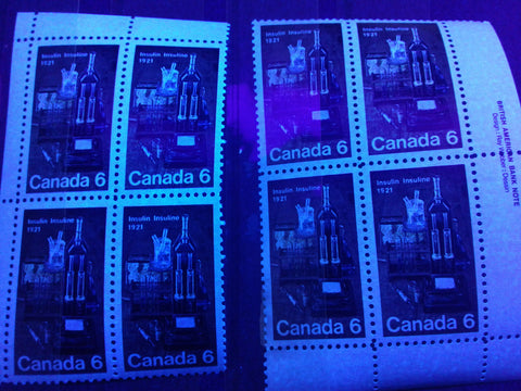 The high fluorescent and medium fluorescent paper on the 1971 Insulin stamp of Canada