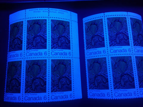 The hibrite and high fluorescent papers on the 1971 6c Maple Leaf in Spring stamp of Canada