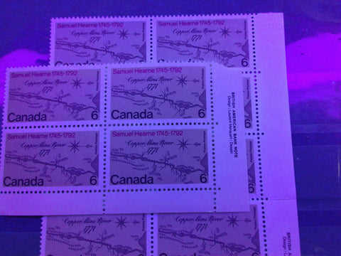 Two varieties of dull fluorescent paper on the 1971 Samuel Hearne stamp of Canada