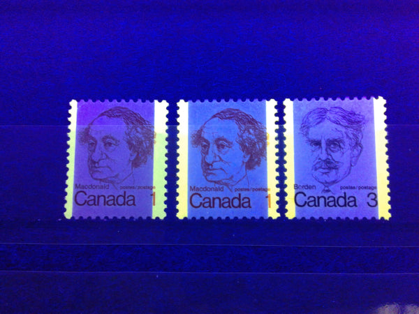 tagging bars on the 1c and 3c Macdonald and Borden stamps of the 1972-1978 Caricature Issue of Canada