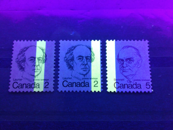 1-Bar tagging errors seen on the 2c Laurier and 5c Bennett stamps from the 1972-1978 Caricature Issue of Canada