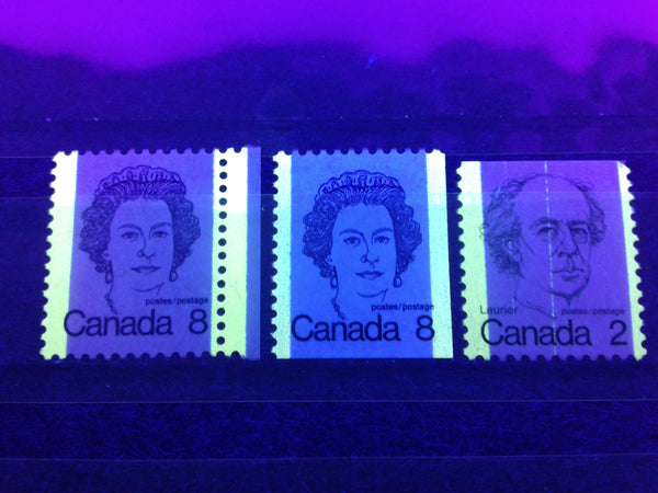 Tagging Bars as seen on BABN printings of the 2c Laurier and 8c Queen stamps of the 1972-1978 Caricature Issue of Canada