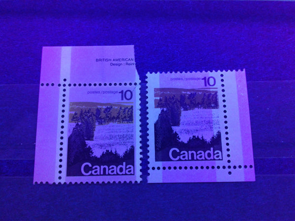 The OP-4 and Winnipeg Tagging as seen on the 10c Forest stamp from the 1972-1978 Caricature Issue of Canada