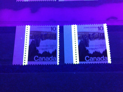 3 mm and 4 mm OP-2 tagging bars as seen on the 10c Forest stamp from the 1972-78 Caricature Issue of Canada
