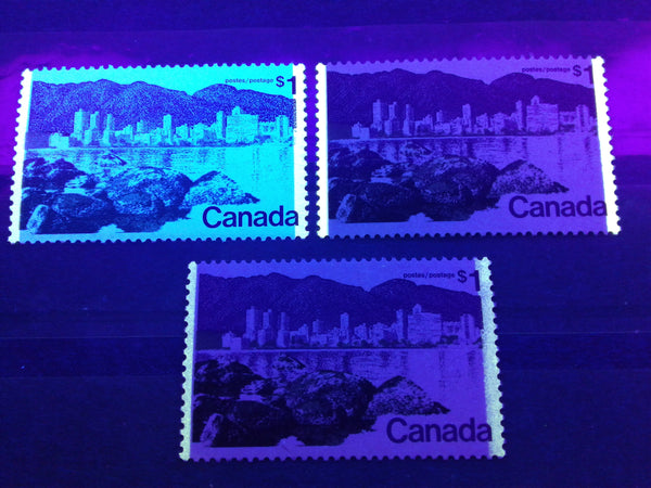 Three different tagging types on the $1 Vancouver stamp from the 1972-78 Caricature Issue of Canada