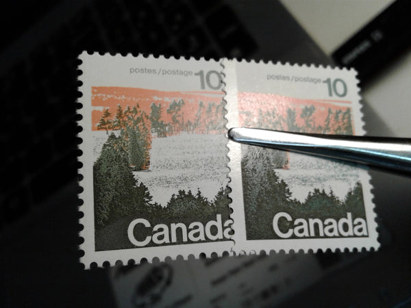 Horizontal Ribbed versus smooth papers on the 10c Forests stamp from the 1972-1978 Caricature issue