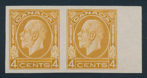 4c golden yellow imperforate pair from the 1932-35 Medallion Issue of Canada