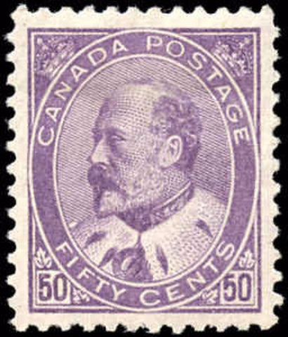 The 50c purple King Edward VII stamp of Canada