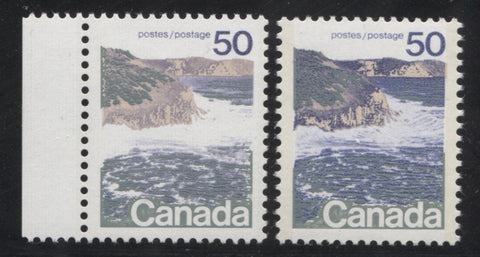 Types 1 and 2 on the 50c seashore stamp from the 1972-1976 Caricature Issue of Canada