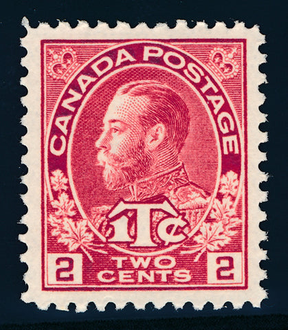 The 2c +1c rose red King George V war tax stamp from the 1911-1928 Admiral Issue of Canada
