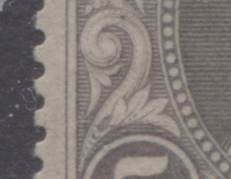 Line across scroll of 5d grey Queen Victoria stamp from the 1894 Waterlow Issue of Niger Coast Protectorate