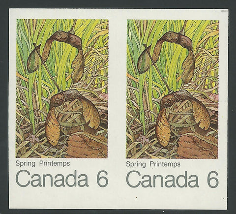 The imperforate pair of the 1971 6c Maple Leaf in Spring Issue