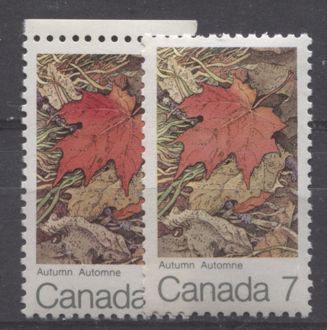 Two shades of red on the 1971 7c Maple Leaf in Autumn stamp of Canada