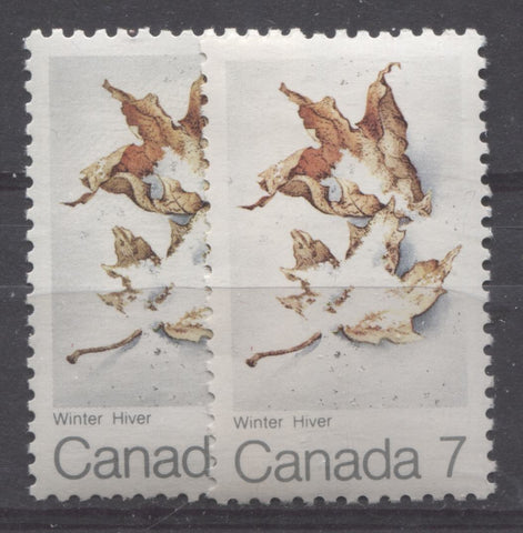 Two shades of grey on the 1971 Maple Leaf in Winter stamp of Canada
