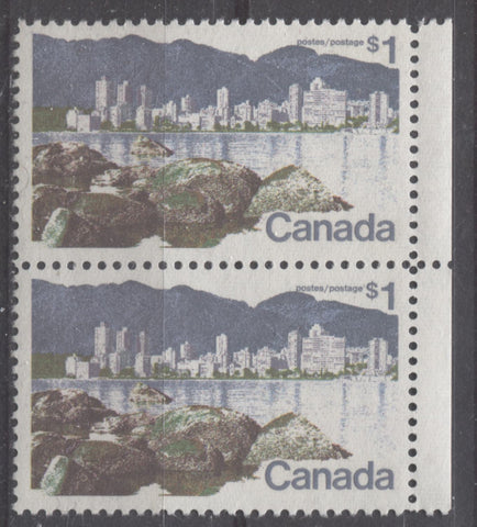 A right field stock pair of the $1 Vancouver from the 1972-1978 Caricature Issue showing the line 11 perforation
