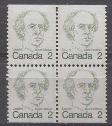 A booklet pane block of 2c Laurier stamps from the 1972-78 Caricature Issue showing double strikes of the comb perforator at the top